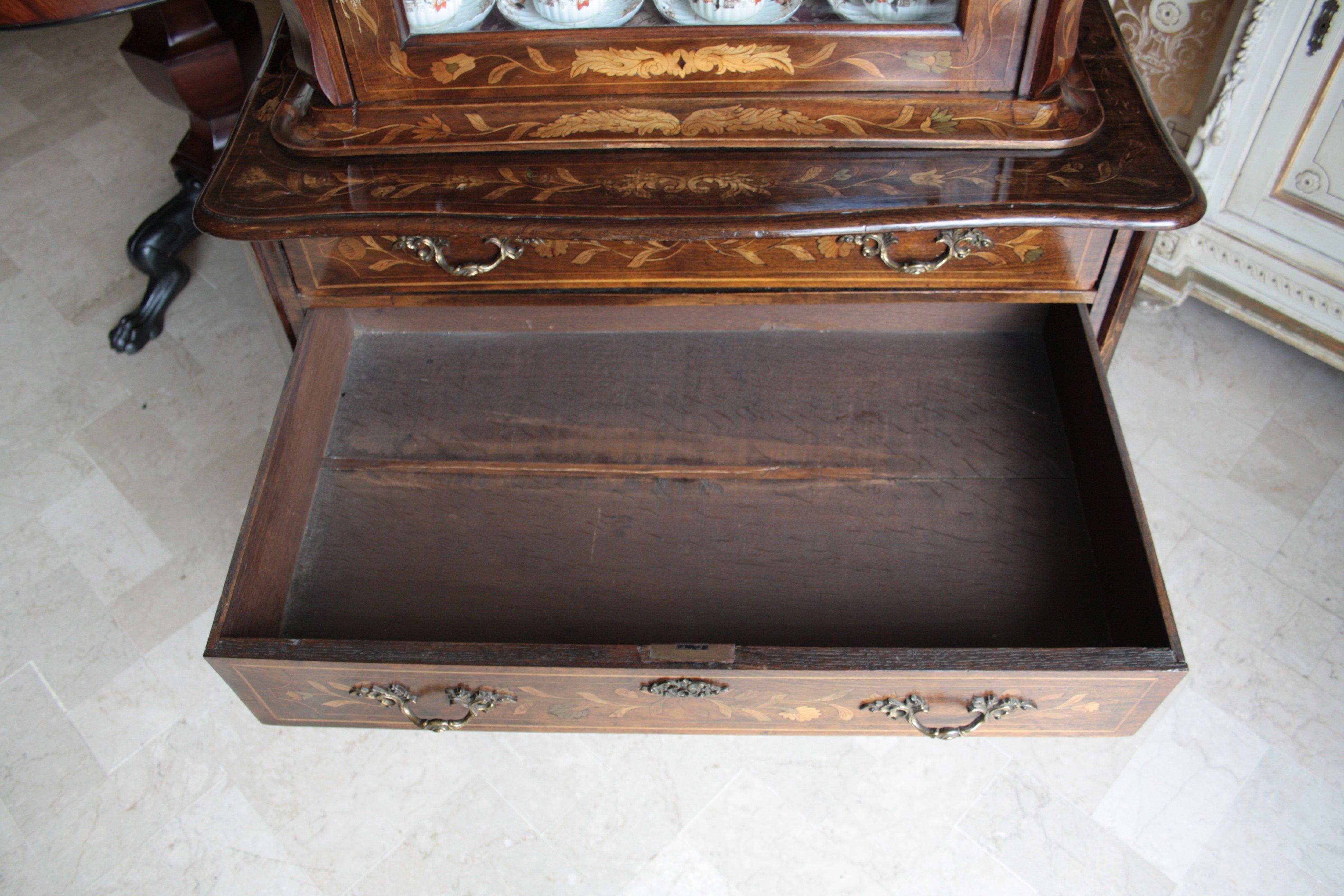 Dutch trumeau Louis XV original inlaid walnut unrestored