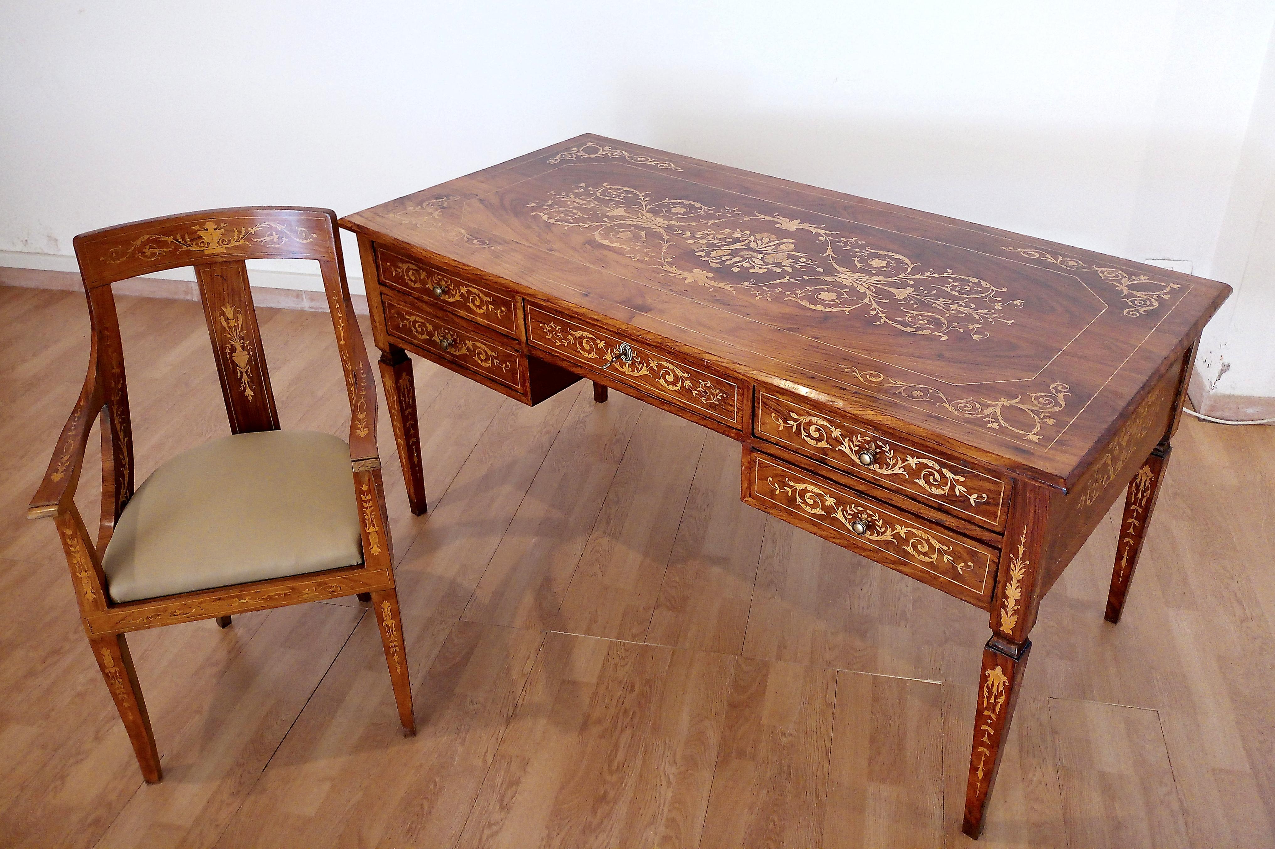 Italienischer Louis XV Schreibtisch und Stuhl, 1920